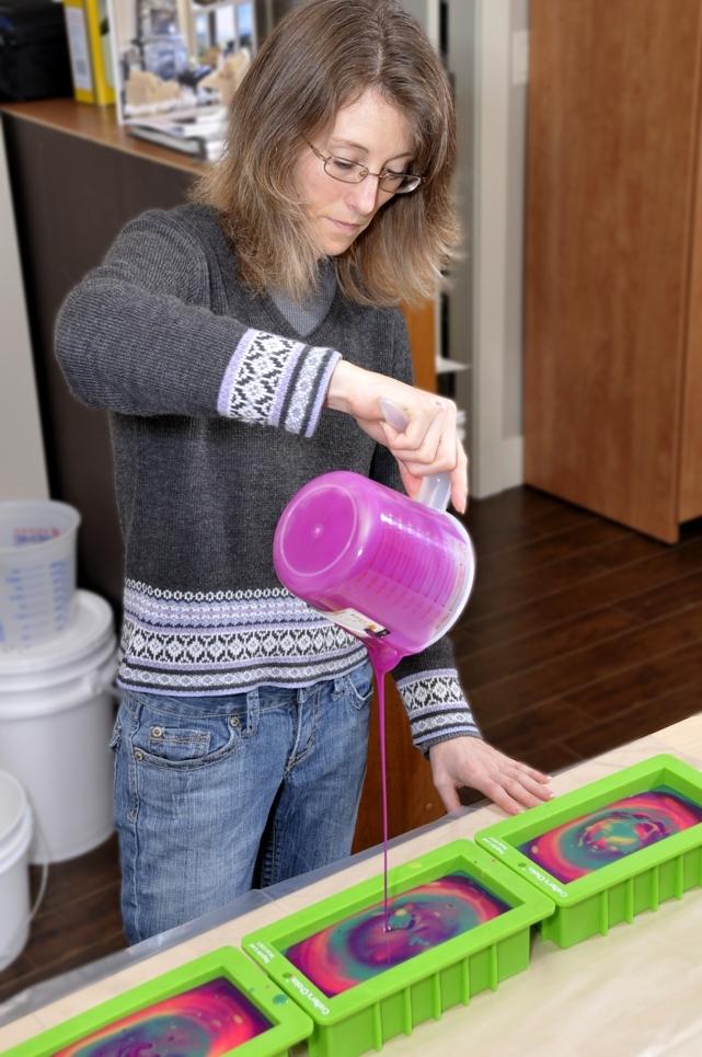 Crystal Bonin from Kelowna, BC, Head 2 Toe store, pouring handmade soap.