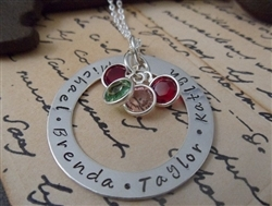 hand stamped birthstone pendant neclace