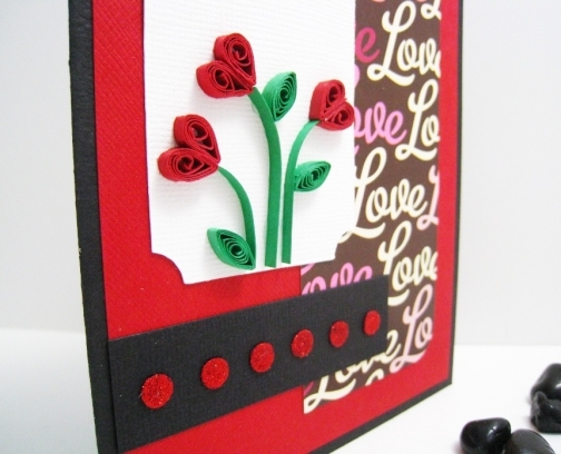 hand quilled flowers on love card