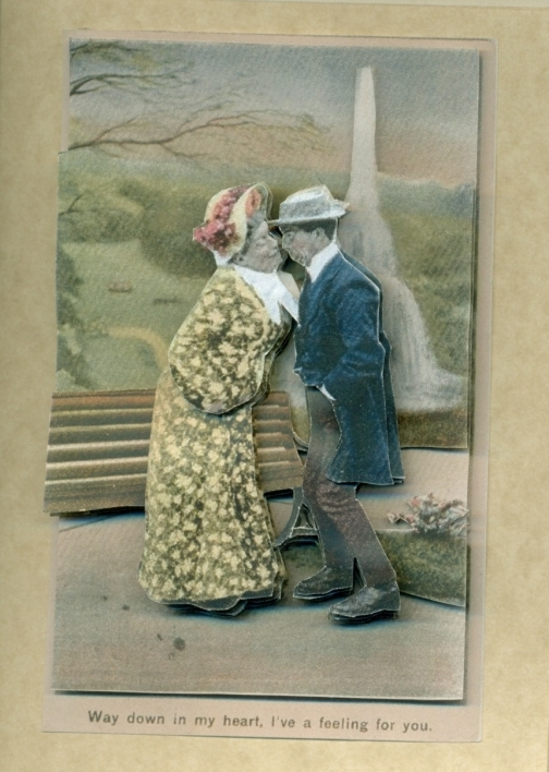 vintage valentine with older couple kissing in park