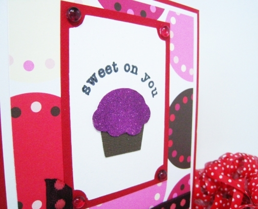 cupcake valentine with glitter and ribbon