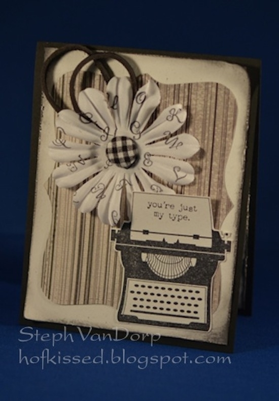 hand crafted Valentine's Card with Vintage type writer