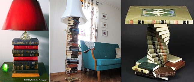 Lamps and tables made out of Books.