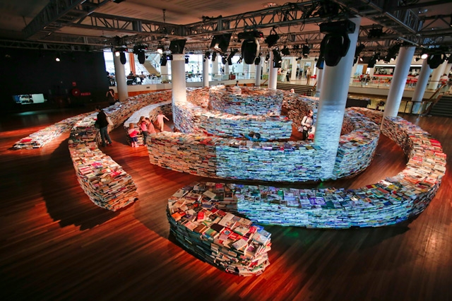 A Giant Labyrinth Constructed from 250,000 Books.