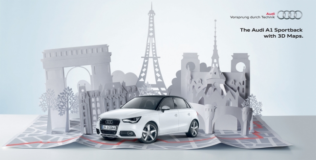 3D paper cityscapes for Audi A1 Global Advertising Campaign.