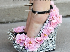 Rhinestone And Flower Wedge Shoes