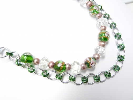 green and silver chain necklace st. patrick's day gift idea