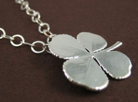 silver clover necklace for st. patrick's day