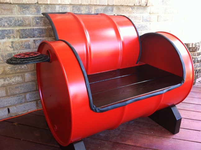 Interesting bench made from a recycled 55 gallon drum