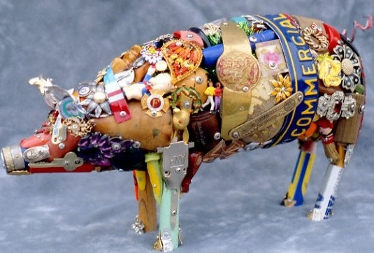 Pig made out of recycled materials.
