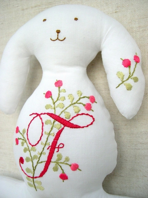 personalized bunny with embroidery