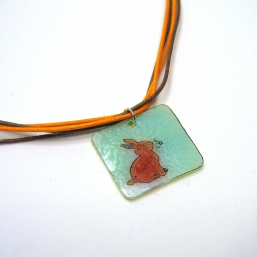 hand drawn bunny pendant easter gift