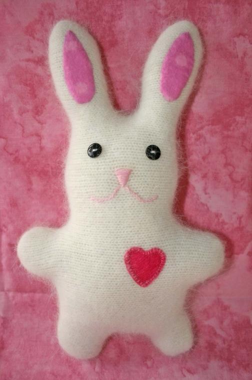handmade bunny with heart and angora