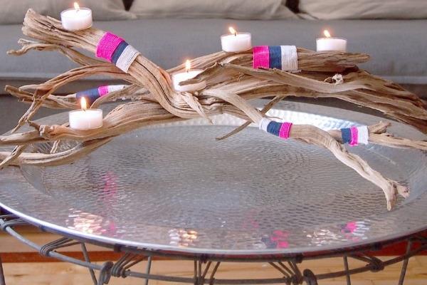 Driftwood candelabra.