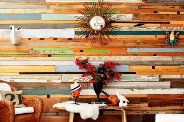 Sarah Reiss sources reclaimed wood to make custom wall art.