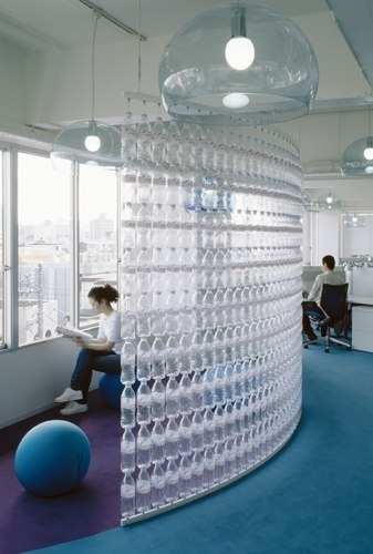Wall of Water Bottles.