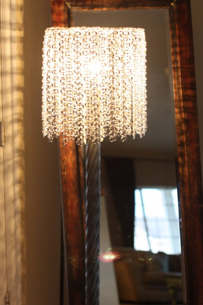 Lamp made of made from pop tops off her diet coke.