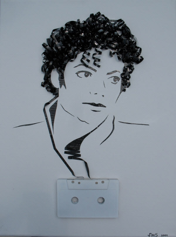 Tribute to Michael Jackson, cassette tape on canvas.
