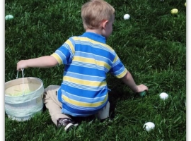 easter egg hunt on the front lawn