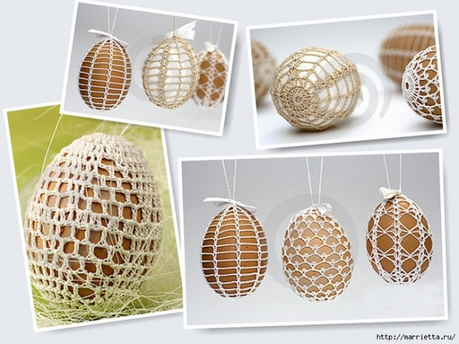 Crocheted Egg covers.