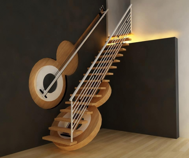 Guitar staircase.