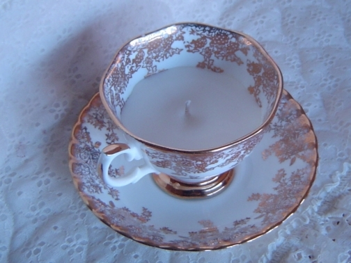 vintage tea cup soy candle gift idea