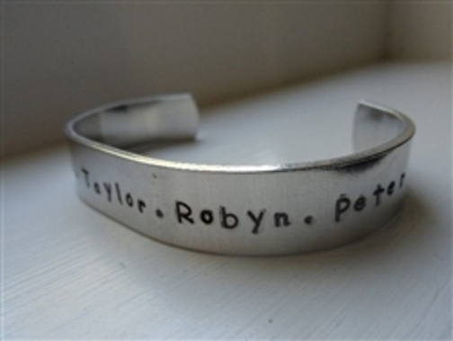 hand stamped cuff bracelet for mother's day