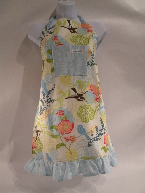 handmade  humming bird apron