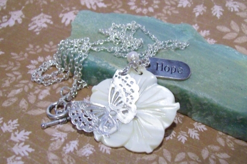 hope necklace with flower and pearl