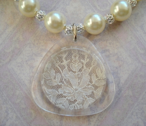 vintage necklace with lace