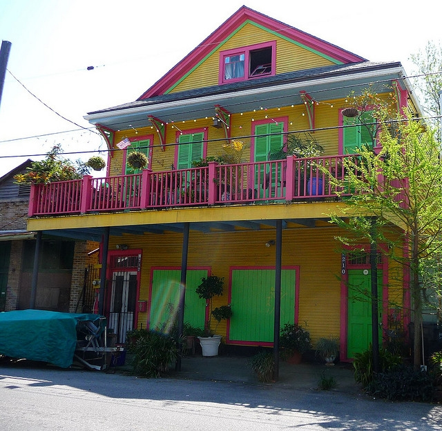 Colorful New Orleans Houses.