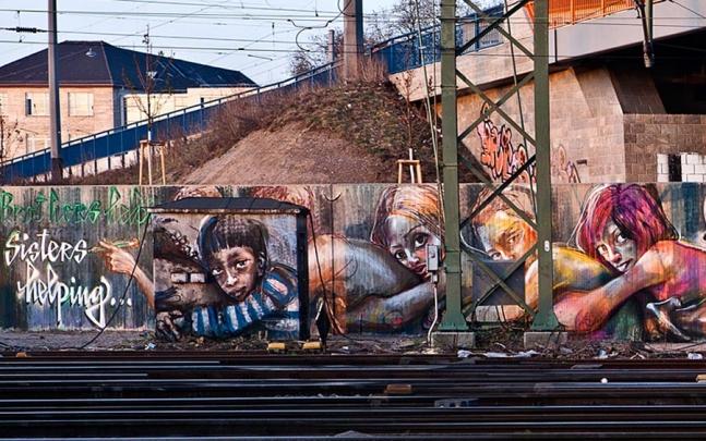 Herakut Mural in Mannheim, Germany.