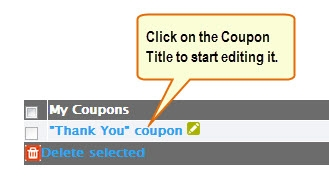 Edit Coupons.
