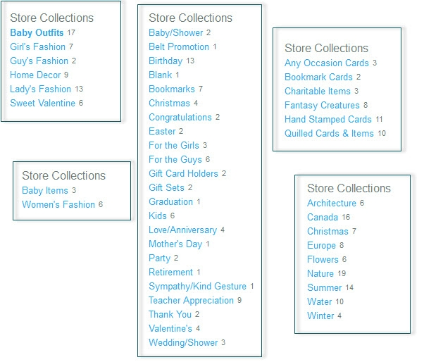 Examples of Product Collections.