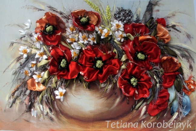 Silk embroidery picture of poppies