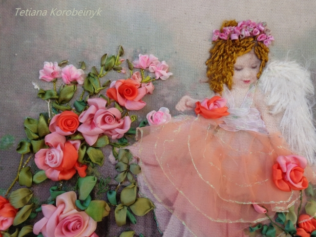 "Picture ""Angel"", Silk ribbon embroidery."