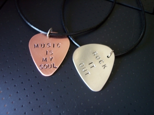 Copper or Silver Guitar Pick Music is my Soul