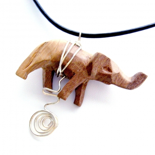 Handmade Necklace Choker with Vintage Carved Wooden Elephant