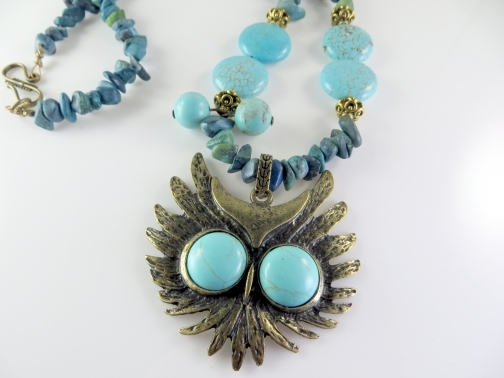 "Turquoise beaded necklace "" Owl Fun"""