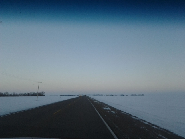 the straight highway to Regina