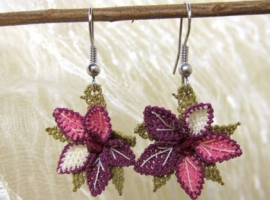 Burgundy and pink earrings from Crochet