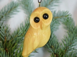 Christmas ornament wooden owl by Northwoods Carvings on iCraft