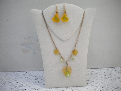 Spring time flower necklace and earrings set from Helen's Charms Unique Gifts