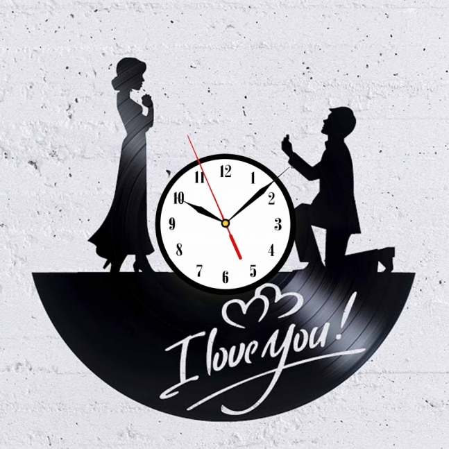 I Love you vinyl record wall clock home decor design art