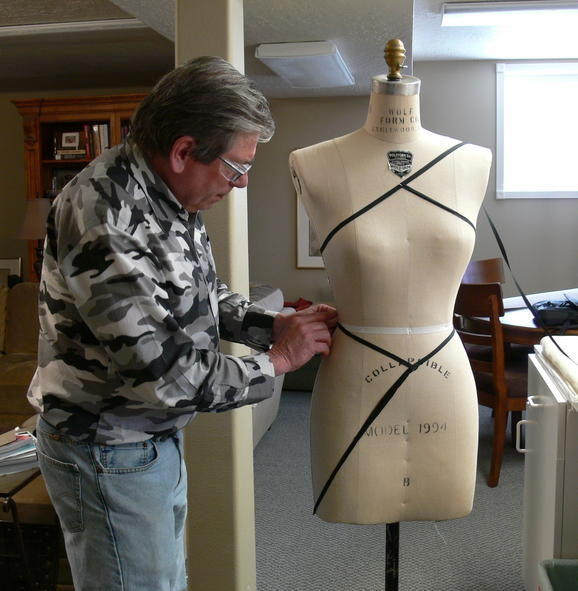 Jonathan Drews with dress form
