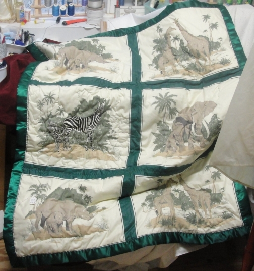 Lap throw blanket quilt African animals