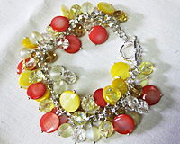 Yellow and Orange Bead Charm Bracelet