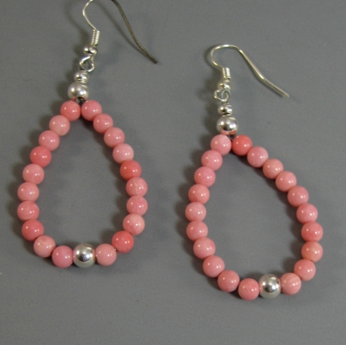 Native American Pink Coral and Sterling Loop Earrings