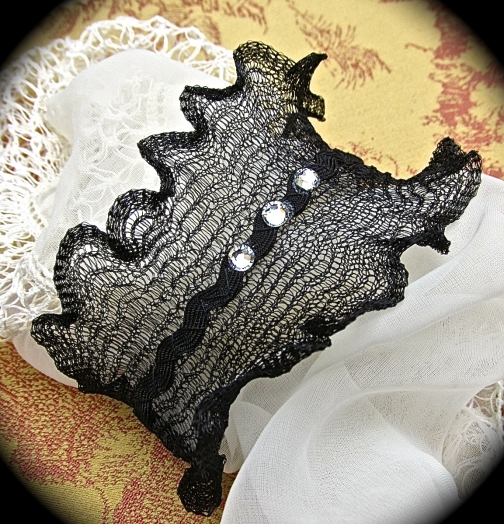 Black Wire mesh bracelet with rhinestones